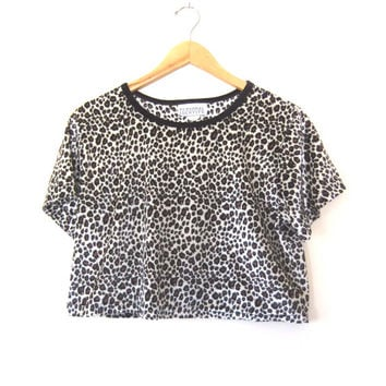 90s Club Kid Velvet Crop Top - Leopard Print Short Sleeve Shirt - Womens size M / L