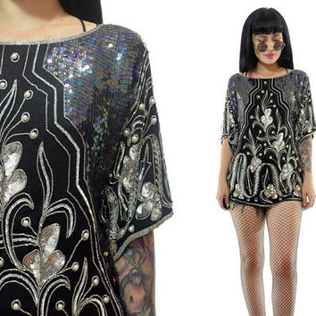 vintage 80s silk sequin beaded tunic slouchy GLAM flapper shirt deco avant garde silver small