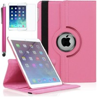 Zeox iPad Air 2 Case - 360 Degree Rotating Stand Case with Smart Cover Auto Sleep / Wake Feature for Apple iPad Air 2 (iPad 6) 2014 Model, Pink