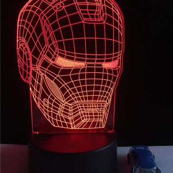 New Marvel Avengers Lamp 3D Art Iron Man Mask Night Light Superhero illusion Mood Lampe for Kids Friends Dad Creative Toy Gift