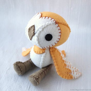 Hobs the Barn Owl Wool Felt Plush Art Doll by nonesuchgarden