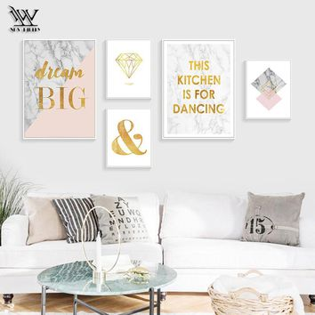Abstract Canvas Painting for Living Room Marvel Nordic Wall Art Pictures for Bedroom Home Decor Spray Golden Posters and Prints
