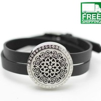 Stainless Steel Essential Oil Bracelet Diffuser with Crystals
