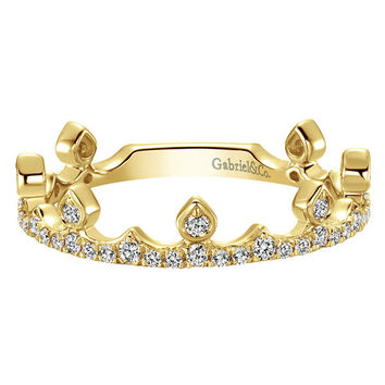"Gabriel ""Crown Princess"" Diamond Ring in 14K Yellow Gold"