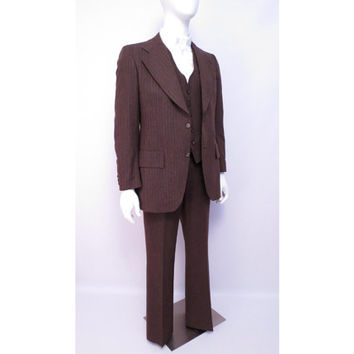 Vintage Pinstripe 3 piece suit Size 42L Tailored by Richman Brothers Brown January 26, 1980 70s Suit