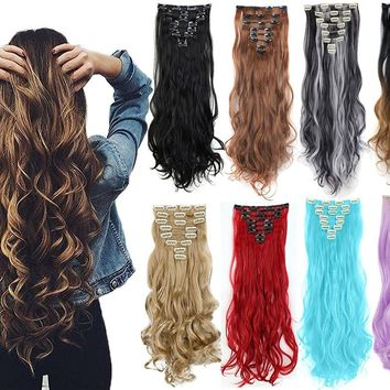 "3-5 Days Delivery 8PCS 24"" Long Wavy Curly Full Head Clip in Hair Extensions"