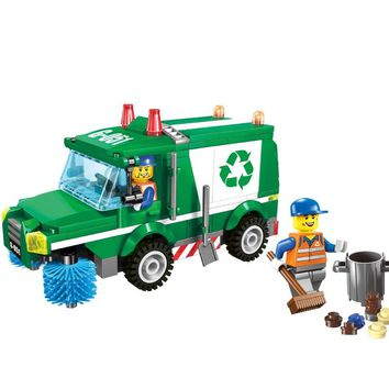 ENLIGHTEN City Construction Vehicles Sweeper Cleaning garbage truck Building Blocks Sets Kits Kids Toys Compatible Legoings
