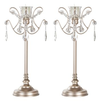 2-Piece Metal Candlestick Candelabra Set with Glass Crystals (Champagne)