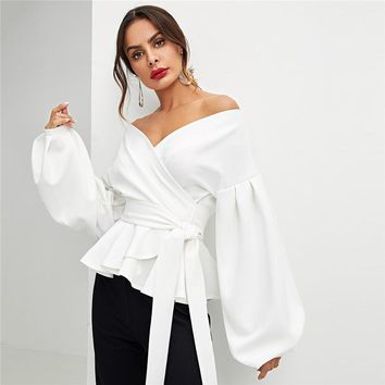 Office Lady Elegant Lantern Sleeve Surplice Peplum Off the Shoulder Solid Blouse Sexy Women Tops And Blouses