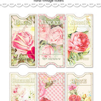 Digital vintage floral tickets / shabby chic / ephemera collage sheet / three sizes / downloadable, printable / wedding DIY