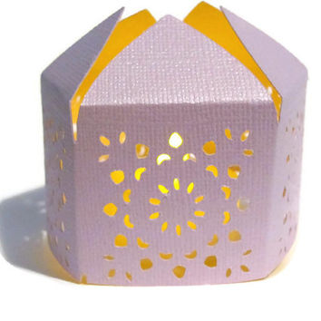 Lavender Handmade Moroccan Middle Eastern Paper Wedding Lantern with LED Battery Tea Light Candle Event Decor - Party Favor - Lighting