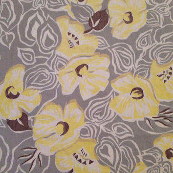 Yellow Anemone Flower LARGE Rectangle Printed Linen Tablecloth with Gray- Vintage 1940's RARE