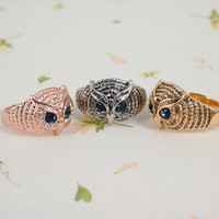 Vintage Owl Face Ring in 3 Colors from chiccasesandhomeproducts