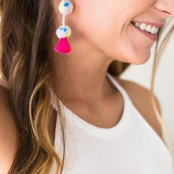 Cheer Me On Pom Pom Earrings - Ivory