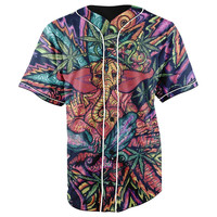 Hindu God Purple Button Up Baseball Jersey