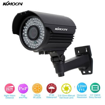 KKmoon Waterproof HD 1200TVL CCTV Camera 72 IR LEDs 2.8~12mm Zoom Varifocal Security Camera Outdoor IR-CUT Surveillance Camera