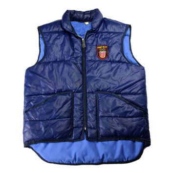 Vintage 1960s 60s 1960 Squaw Valley Olympics Navy Blue Down Skiing Vest Mens Retro Sportswear Size Small