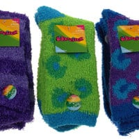 6 Pairs Fuzzy Crew Socks Krazisox Blue Green Purple Cozy Womens Size 4-10 Solid