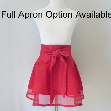 Red Half Apron, Double Full Retro Skirt, Dressy, Hostess, Special Occasion, Bridal Shower, Birthday Gift for Mom Wife Girlfriend
