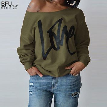 2018 Large Size Women Sweatshirts Sexy LOVE Letter Printed Off Shoulder Long Sleeved Pullovers Hoodies Autumn Winter Casual Tops