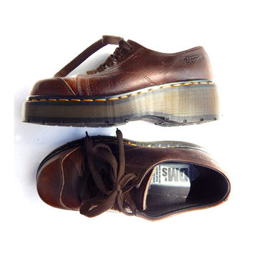 Doc Marten Shoes Brown Loafers Platforms Grunge 90s Chunky Leather Dr. Martens Oxfords Preppy Schoolgirl 1990s | US 8 8.5 9 | UK 5