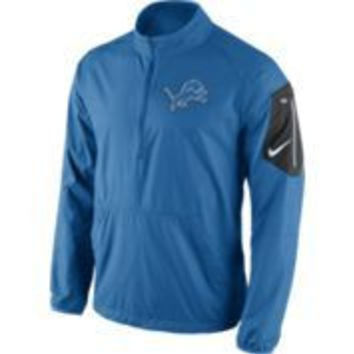 NFL Nike Detroit Lions Mens Lockdown Half Zip Jacket-Blue