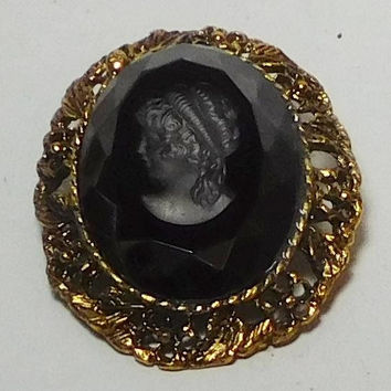Black Cameo Brooch, Cameo Pendant, Etched, Domed, Faceted, Raised, Antiqued Gold, Gold Tone, Large, Vintage Victorian Steampunk