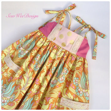 Girls summer dress baby dress Easter dress size 3 T floral dress layering dress pink dress Amy Butler designer fabric handmade in the USA