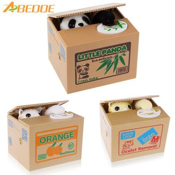 "Automated Animal -  Cat or Panda Stealing Coin Money - Animal Piggy Bank -  Storage Saving Box "" Don't Wake Me Up Box"""