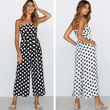 Women Fashion Polka Dots Sleeveless Strap Strapless Romper Jumpsuit Wide Leg Pants Trousers