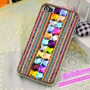 Bling Chain iPhone case, Best iPhone 4S case,Colorful iPhone 5case, Rhinestone iPhone 4s Case,Beautiful iPhonecases,case for iPhone, C004