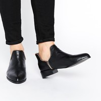 Senso Bailey Black Leather Rose Gold Zip Ankle Boots