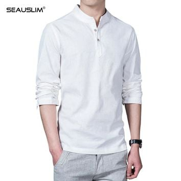 SEAUSLIM Linen TShirts Men Autumn Long Sleeve Grandad Chinese Shirts Men Linen Shirt Pullover Big Plus Size 5XL 7 Color LQ-JH-01