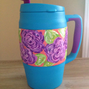 Lilly Pulitzer inspired design hand painted on 34 ounce Bubba thermos mug.