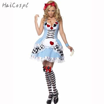 Plus Size French Maid Costume For Women Fashion Sexy Poker Dress Alice Costume Halloween Cosplay Party