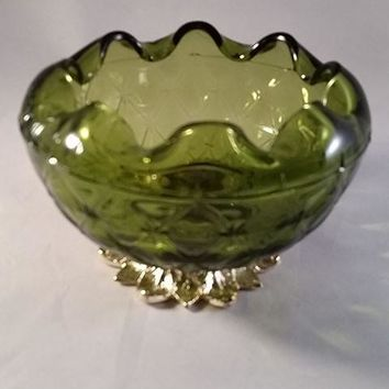 Green Pineapple Glass Rose Bowl with Leaf Pedestal Indiana Glass Co