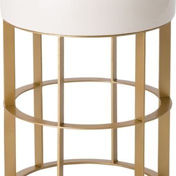 Milo Metal Stool/Table Powdercoated Gold With A White Ceramic Top