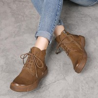 2017 Winter Women Ankle Boots Brown Genuine Leather Black Martin Boots For Women Lace Up Handmade Women Leather Shoes Low Heel