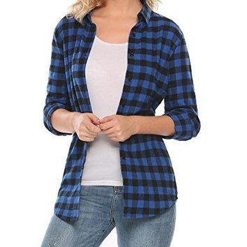 ELESOL Womens Casual Long Sleeve Boyfriend Plaid Button Down Flannel Shirts Tops