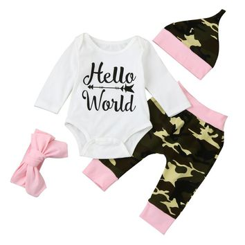 4pcs suit !!! Boutique Baby Boys Girls Camouflage Clothes Tops Romper +Pants +Hat+Headbands Hello World Letter Outfits Set
