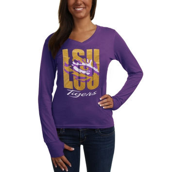 LSU Tigers Ladies Andromeda Long Sleeve V-Neck T-Shirt - Purple