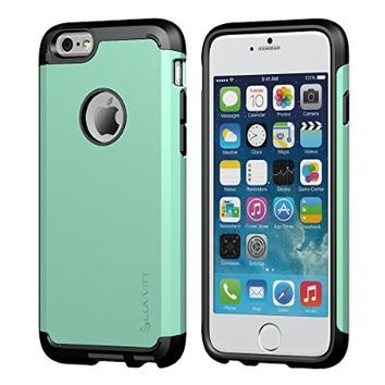 Luvvitt Ultra Armor Shock Absorbing Heavy Duty Dual Layer Case for Apple iPhone 6 / iPhone 6s - Black / Turquoise Teal Mint Green