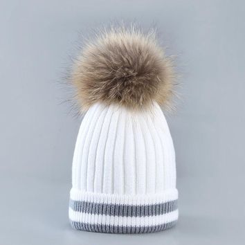 New Design Ladies Autumn Winter Hats Women Fashion Outdoor Warm Hat Hair Ball Stripe Knitted Hat Women Hat skullies Beanies Cap