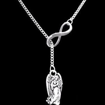Angel Guardian Wife Mom Gift, In Memory Remembrance Sympathy Lariat Necklace