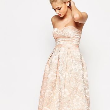 Lashes of London Bandeau Full Midi Dress With Cut Out Back In Textured Floral
