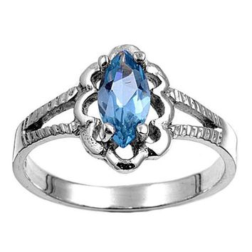 Sterling Silver Marquise Flower Filigree CZ Aquamarine 11MM CZ Petite Rings
