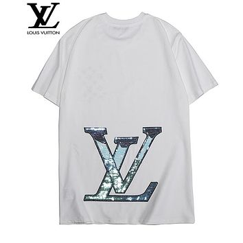 LV Louis Vuitton Summer Popular Women Men Cool Reflective Sequins Print Short Sleeve T-Shirt Pullover Top White