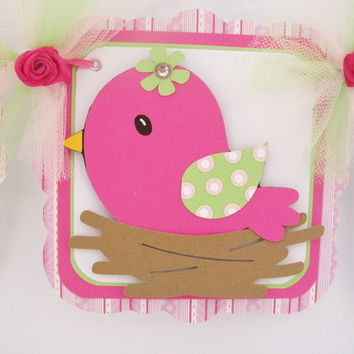 pink nesting bird baby shower banner, its a girl banner, fuchsia, lime green and pink