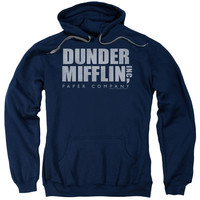 THE OFFICE/DUNDER MIFFLIN DISTRESSED-ADULT PULL-OVER HOODIE-NAVY