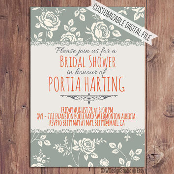 Blue Vintage Roses Bridal Shower Invitation - Classy Old Fashioned Flower Print Elegant Professional Pretty Low Key - Printable DIY (004)
